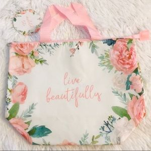Live Beautifully Floral Insulated Lunch Bag Tote